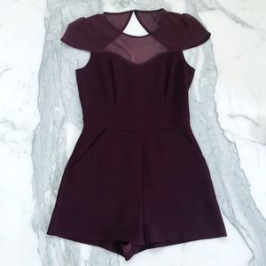 BCBGeneration Purple Mesh Cutout Romper